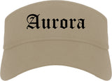 Aurora Colorado CO Old English Mens Visor Cap Hat Khaki