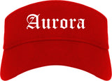 Aurora Colorado CO Old English Mens Visor Cap Hat Red