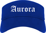 Aurora Colorado CO Old English Mens Visor Cap Hat Royal Blue