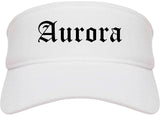 Aurora Colorado CO Old English Mens Visor Cap Hat White