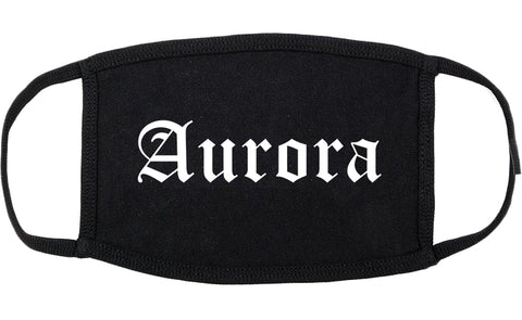 Aurora Illinois IL Old English Cotton Face Mask Black