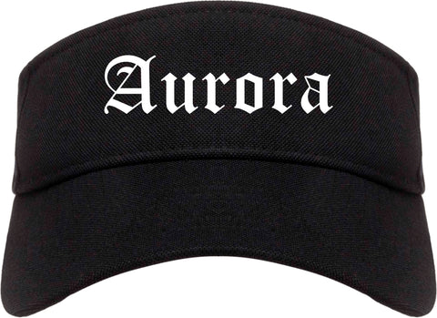 Aurora Illinois IL Old English Mens Visor Cap Hat Black