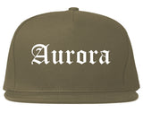 Aurora Missouri MO Old English Mens Snapback Hat Grey