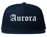 Aurora Missouri MO Old English Mens Snapback Hat Navy Blue