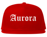 Aurora Missouri MO Old English Mens Snapback Hat Red