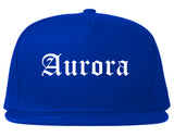 Aurora Missouri MO Old English Mens Snapback Hat Royal Blue