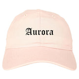 Aurora Missouri MO Old English Mens Dad Hat Baseball Cap Pink