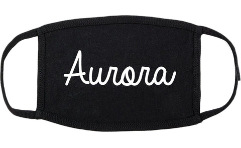 Aurora Missouri MO Script Cotton Face Mask Black