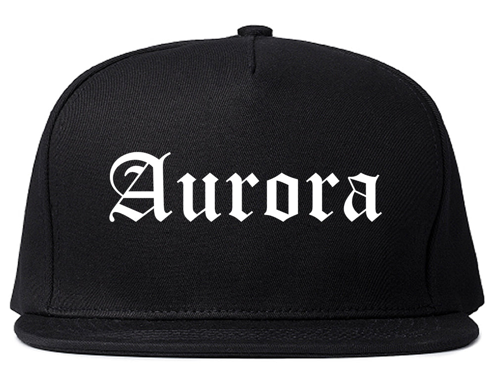 Aurora Ohio OH Old English Mens Snapback Hat Black