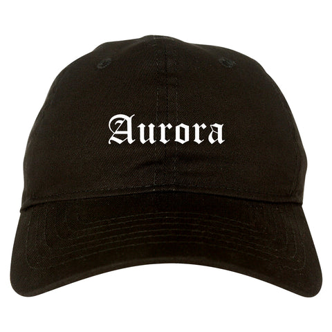 Aurora Ohio OH Old English Mens Dad Hat Baseball Cap Black