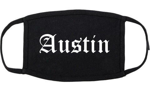 Austin Texas TX Old English Cotton Face Mask Black
