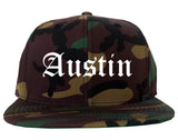 Austin Texas TX Old English Mens Snapback Hat Army Camo