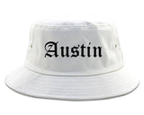 Austin Texas TX Old English Mens Bucket Hat White