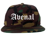 Avenal California CA Old English Mens Snapback Hat Army Camo