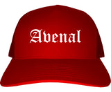Avenal California CA Old English Mens Trucker Hat Cap Red