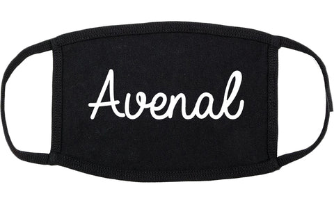 Avenal California CA Script Cotton Face Mask Black