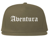 Aventura Florida FL Old English Mens Snapback Hat Grey