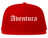 Aventura Florida FL Old English Mens Snapback Hat Red