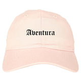 Aventura Florida FL Old English Mens Dad Hat Baseball Cap Pink