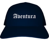 Aventura Florida FL Old English Mens Trucker Hat Cap Navy Blue