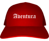 Aventura Florida FL Old English Mens Trucker Hat Cap Red