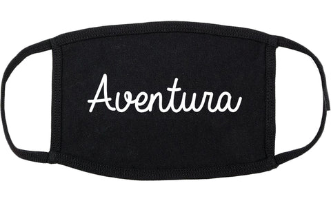 Aventura Florida FL Script Cotton Face Mask Black