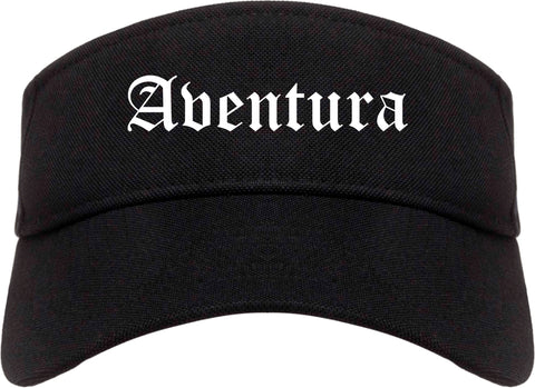 Aventura Florida FL Old English Mens Visor Cap Hat Black