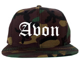 Avon Indiana IN Old English Mens Snapback Hat Army Camo