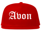 Avon Indiana IN Old English Mens Snapback Hat Red