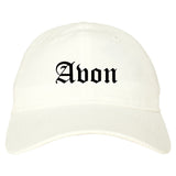 Avon Indiana IN Old English Mens Dad Hat Baseball Cap White