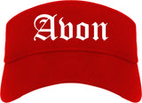 Avon Indiana IN Old English Mens Visor Cap Hat Red