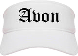 Avon Indiana IN Old English Mens Visor Cap Hat White
