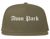 Avon Park Florida FL Old English Mens Snapback Hat Grey