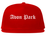 Avon Park Florida FL Old English Mens Snapback Hat Red