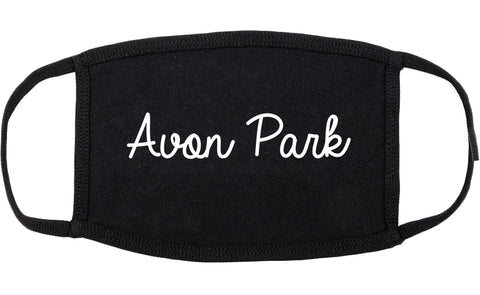 Avon Park Florida FL Script Cotton Face Mask Black