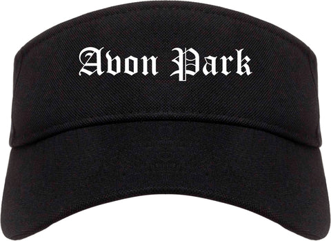 Avon Park Florida FL Old English Mens Visor Cap Hat Black