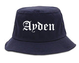 Ayden North Carolina NC Old English Mens Bucket Hat Navy Blue