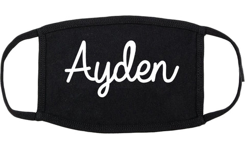 Ayden North Carolina NC Script Cotton Face Mask Black