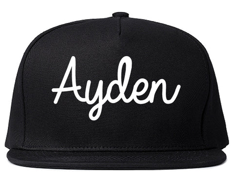 Ayden North Carolina NC Script Mens Snapback Hat Black