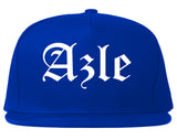 Azle Texas TX Old English Mens Snapback Hat Royal Blue