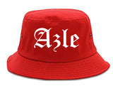 Azle Texas TX Old English Mens Bucket Hat Red