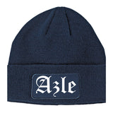 Azle Texas TX Old English Mens Knit Beanie Hat Cap Navy Blue