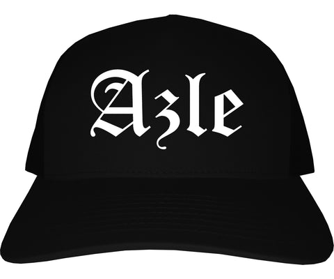 Azle Texas TX Old English Mens Trucker Hat Cap Black