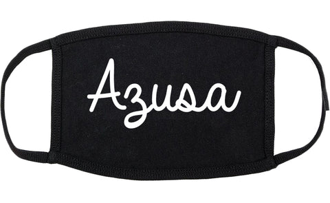 Azusa California CA Script Cotton Face Mask Black