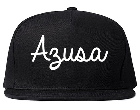 Azusa California CA Script Mens Snapback Hat Black