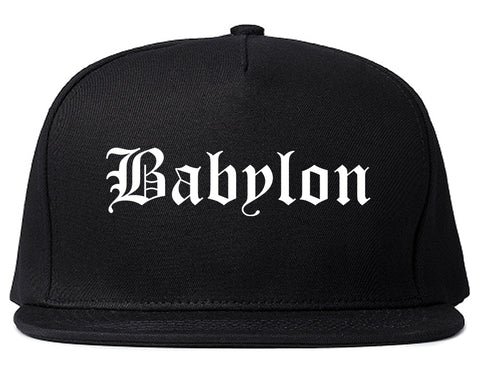 Babylon New York NY Old English Mens Snapback Hat Black