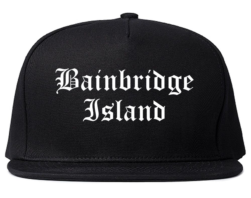 Bainbridge Island Washington WA Old English Mens Snapback Hat Black