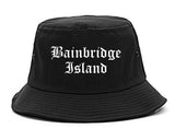 Bainbridge Island Washington WA Old English Mens Bucket Hat Black