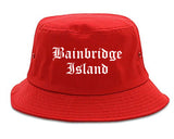Bainbridge Island Washington WA Old English Mens Bucket Hat Red