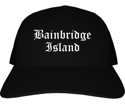 Bainbridge Island Washington WA Old English Mens Trucker Hat Cap Black